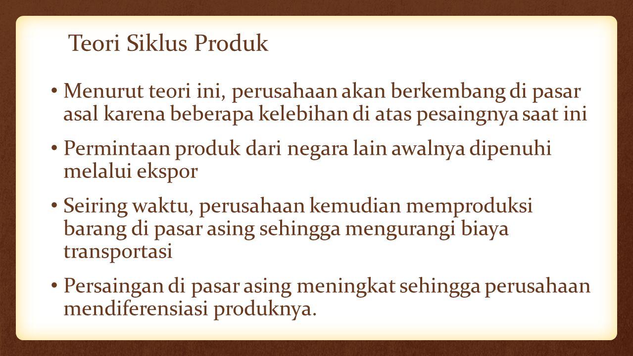 Teori Siklus Produk Menurut teori ini, perusahaan akan berkembang di pasar asal karena beberapa kelebihan di atas pesaingnya saat ini Permintaan produ