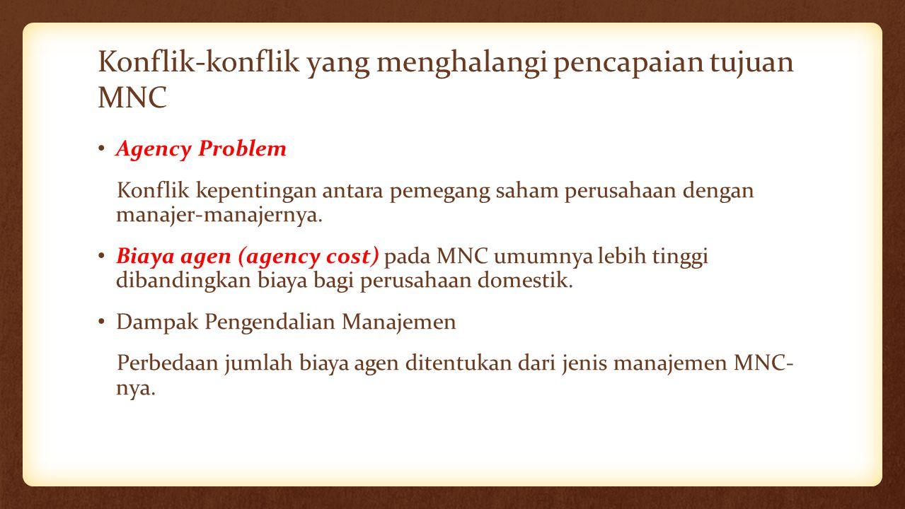 Konflik-konflik yang menghalangi pencapaian tujuan MNC Agency Problem Konflik kepentingan antara pemegang saham perusahaan dengan manajer-manajernya.