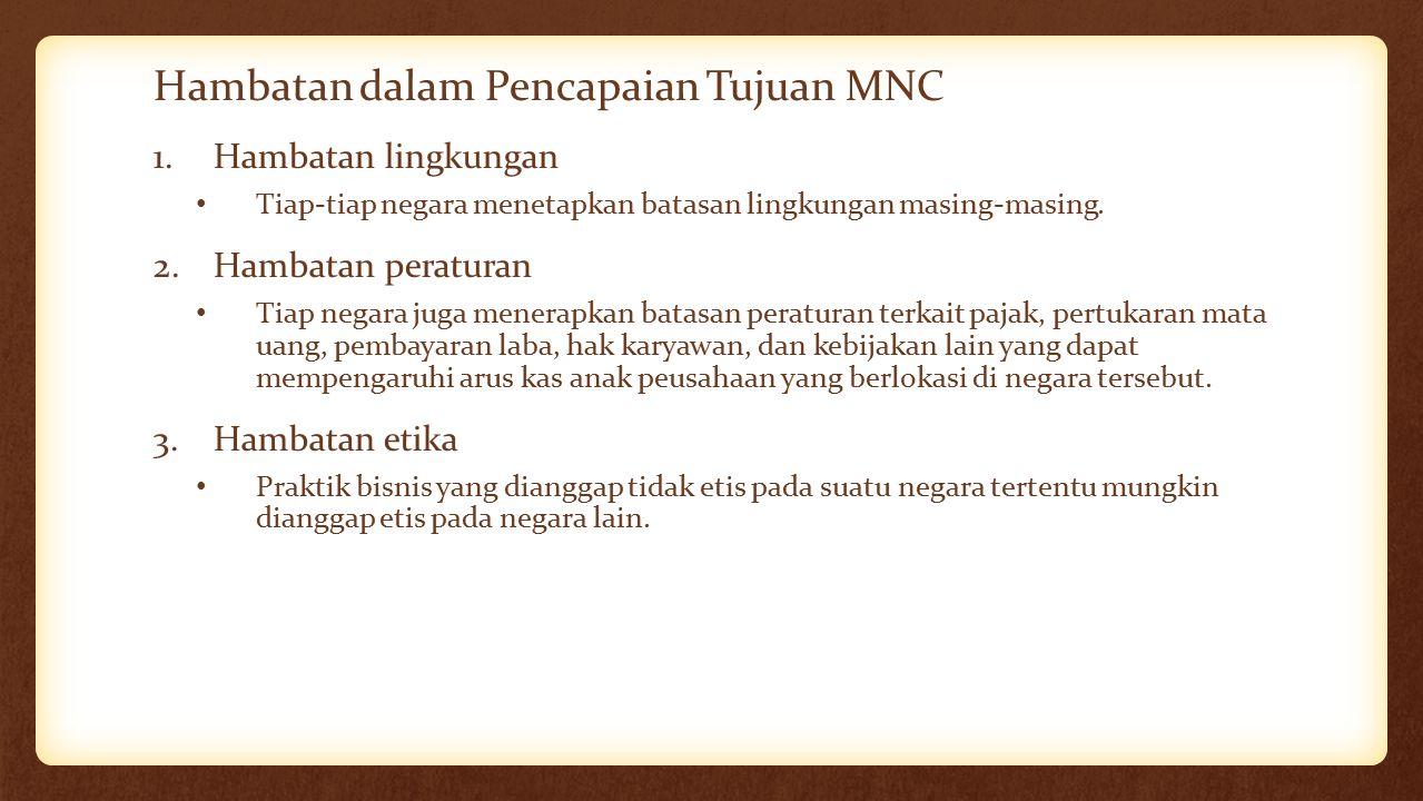 Hambatan dalam Pencapaian Tujuan MNC 1.Hambatan lingkungan Tiap-tiap negara menetapkan batasan lingkungan masing-masing. 2.Hambatan peraturan Tiap neg