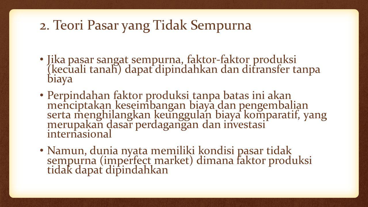 2. Teori Pasar yang Tidak Sempurna Jika pasar sangat sempurna, faktor-faktor produksi (kecuali tanah) dapat dipindahkan dan ditransfer tanpa biaya Per