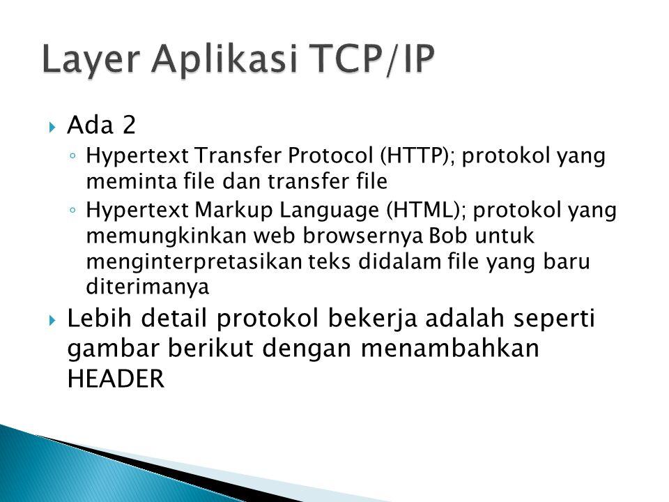  Ada 2 ◦ Hypertext Transfer Protocol (HTTP); protokol yang meminta file dan transfer file ◦ Hypertext Markup Language (HTML); protokol yang memungkinkan web browsernya Bob untuk menginterpretasikan teks didalam file yang baru diterimanya  Lebih detail protokol bekerja adalah seperti gambar berikut dengan menambahkan HEADER