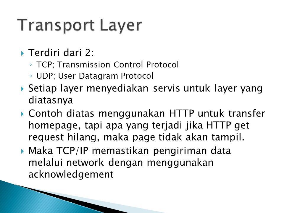  Terdiri dari 2: ◦ TCP; Transmission Control Protocol ◦ UDP; User Datagram Protocol  Setiap layer menyediakan servis untuk layer yang diatasnya  Contoh diatas menggunakan HTTP untuk transfer homepage, tapi apa yang terjadi jika HTTP get request hilang, maka page tidak akan tampil.