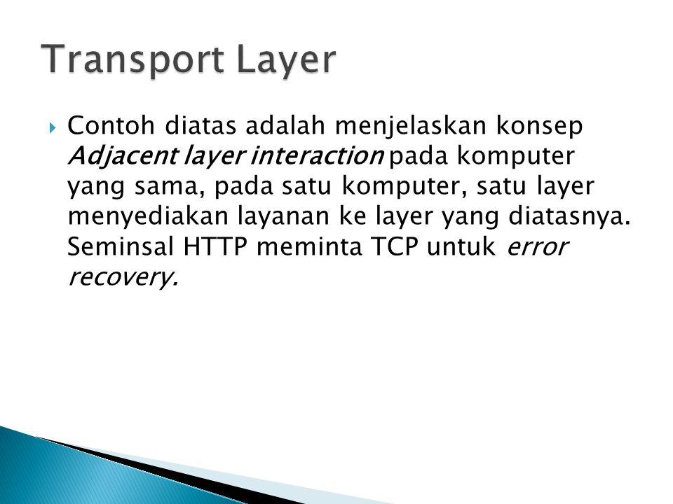  Contoh diatas adalah menjelaskan konsep Adjacent layer interaction pada komputer yang sama, pada satu komputer, satu layer menyediakan layanan ke layer yang diatasnya.