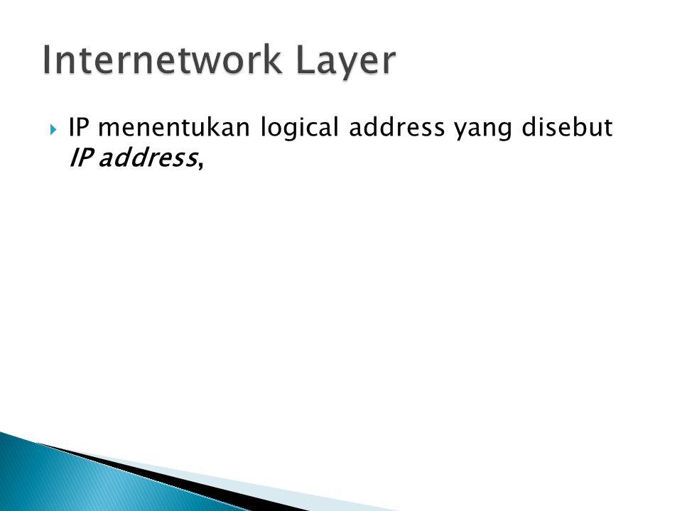 IP menentukan logical address yang disebut IP address,