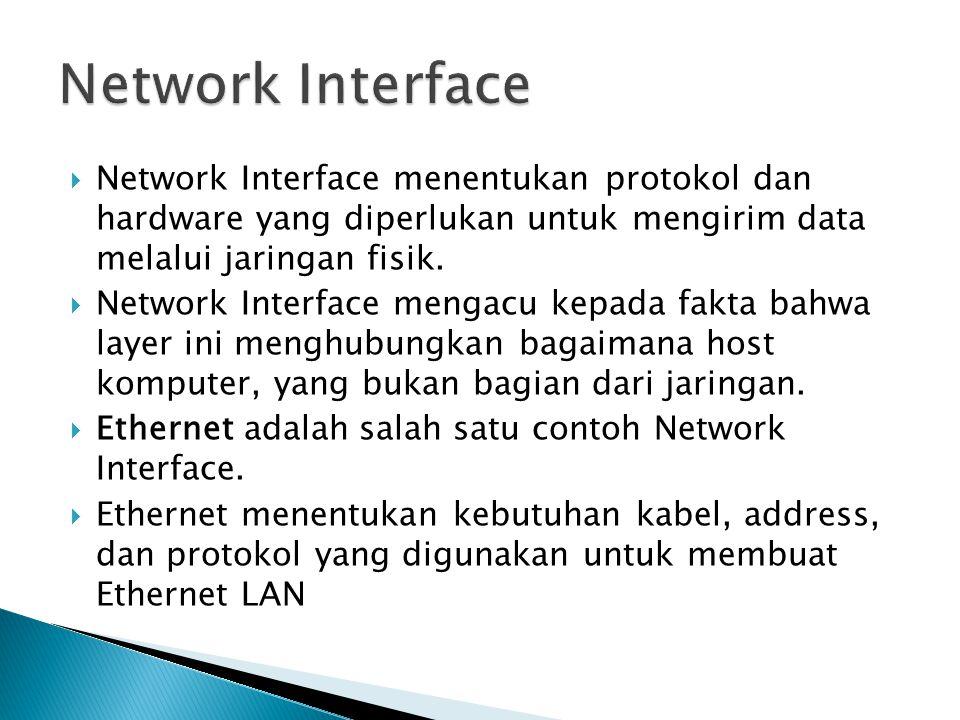  Network Interface menentukan protokol dan hardware yang diperlukan untuk mengirim data melalui jaringan fisik.  Network Interface mengacu kepada fa