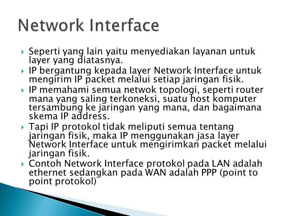  Seperti yang lain yaitu menyediakan layanan untuk layer yang diatasnya.  IP bergantung kepada layer Network Interface untuk mengirim IP packet mela