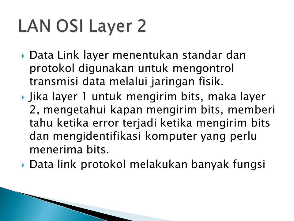  Data Link layer menentukan standar dan protokol digunakan untuk mengontrol transmisi data melalui jaringan fisik.  Jika layer 1 untuk mengirim bits