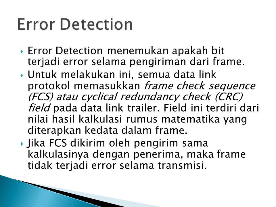  Error Detection menemukan apakah bit terjadi error selama pengiriman dari frame.  Untuk melakukan ini, semua data link protokol memasukkan frame ch