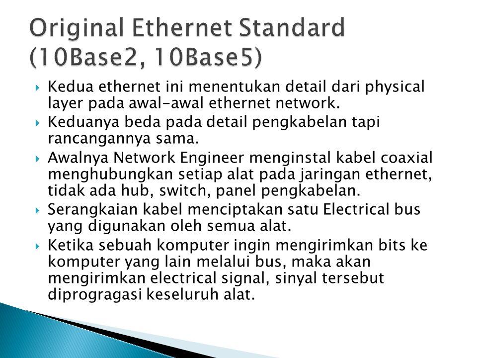  Kedua ethernet ini menentukan detail dari physical layer pada awal-awal ethernet network.  Keduanya beda pada detail pengkabelan tapi rancangannya