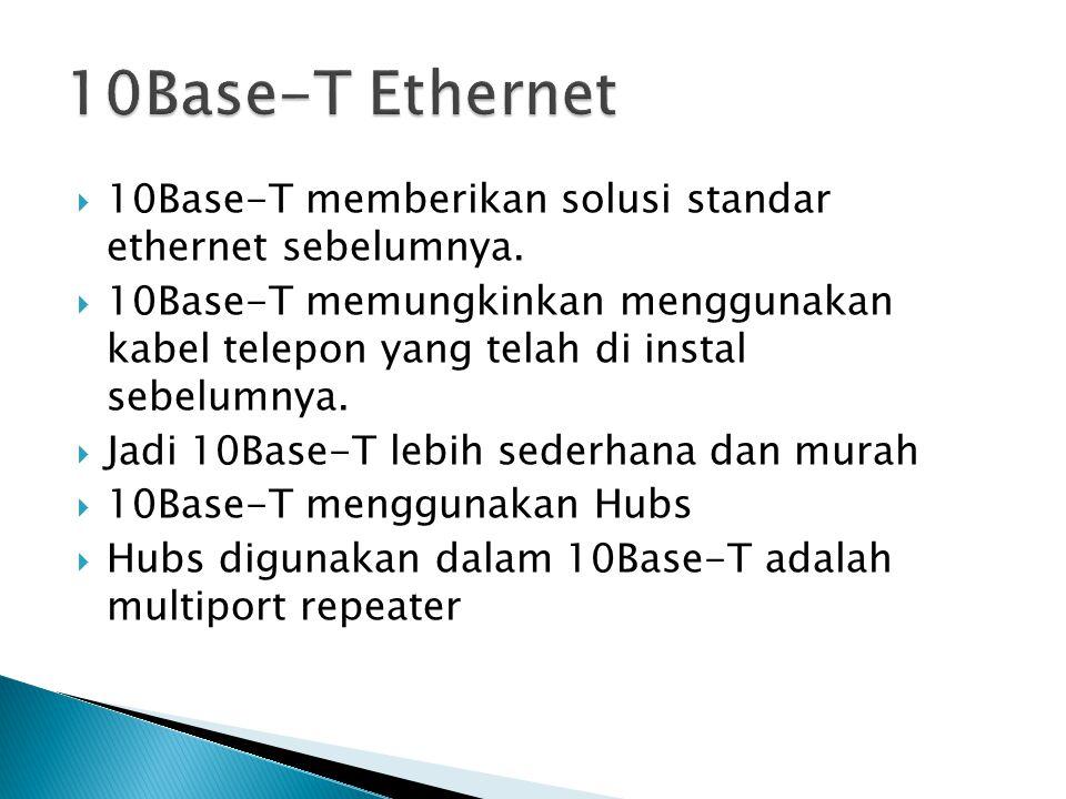 10Base-T memberikan solusi standar ethernet sebelumnya.  10Base-T memungkinkan menggunakan kabel telepon yang telah di instal sebelumnya.  Jadi 10