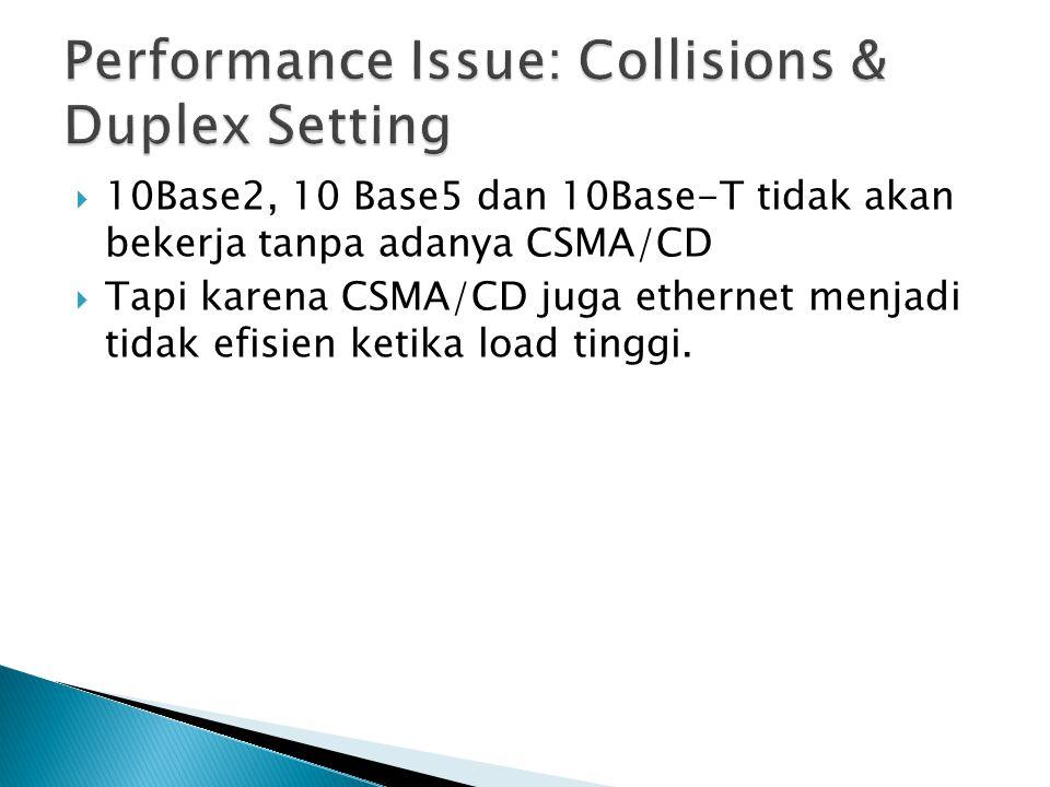  10Base2, 10 Base5 dan 10Base-T tidak akan bekerja tanpa adanya CSMA/CD  Tapi karena CSMA/CD juga ethernet menjadi tidak efisien ketika load tinggi.