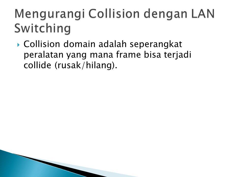  Collision domain adalah seperangkat peralatan yang mana frame bisa terjadi collide (rusak/hilang).
