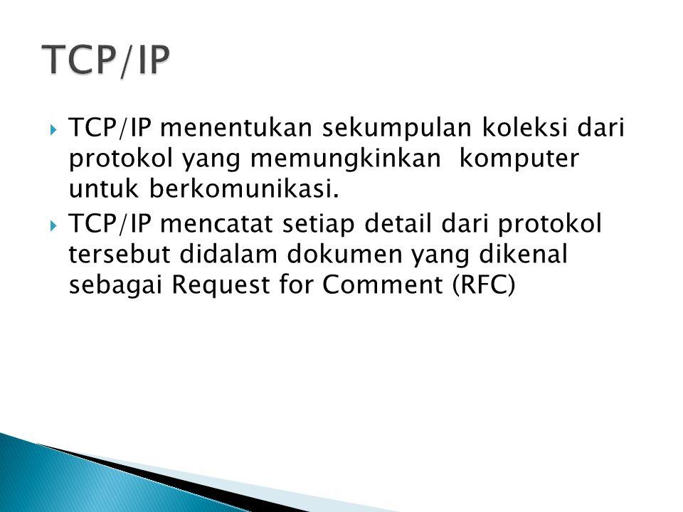  TCP/IP menentukan sekumpulan koleksi dari protokol yang memungkinkan komputer untuk berkomunikasi.  TCP/IP mencatat setiap detail dari protokol ter