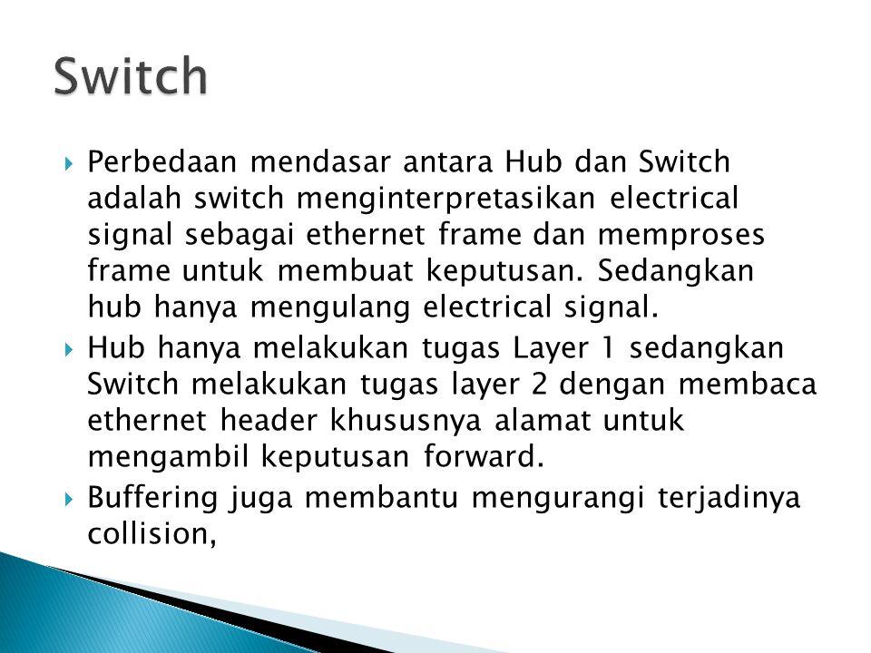  Perbedaan mendasar antara Hub dan Switch adalah switch menginterpretasikan electrical signal sebagai ethernet frame dan memproses frame untuk membuat keputusan.