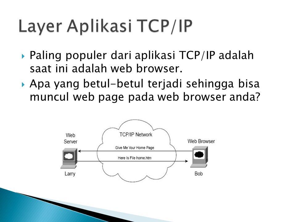  Paling populer dari aplikasi TCP/IP adalah saat ini adalah web browser.