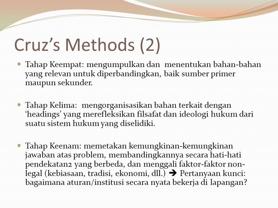 Cruz's Methods (2) Tahap Keempat: mengumpulkan dan menentukan bahan-bahan yang relevan untuk diperbandingkan, baik sumber primer maupun sekunder. Taha