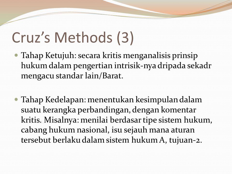 Cruz's Methods (3) Tahap Ketujuh: secara kritis menganalisis prinsip hukum dalam pengertian intrisik-nya dripada sekadr mengacu standar lain/Barat. Ta