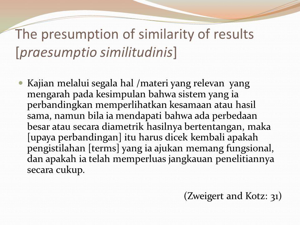 The presumption of similarity of results [praesumptio similitudinis] Kajian melalui segala hal /materi yang relevan yang mengarah pada kesimpulan bahw