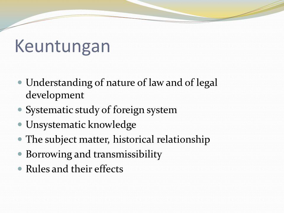 Ketika melakukan riset thesis misalnya, bagaimana anda bisa mengelola resiko perbandingan hukum tersebut.