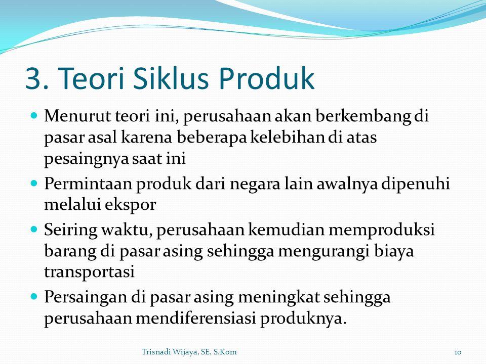 3. Teori Siklus Produk Menurut teori ini, perusahaan akan berkembang di pasar asal karena beberapa kelebihan di atas pesaingnya saat ini Permintaan pr