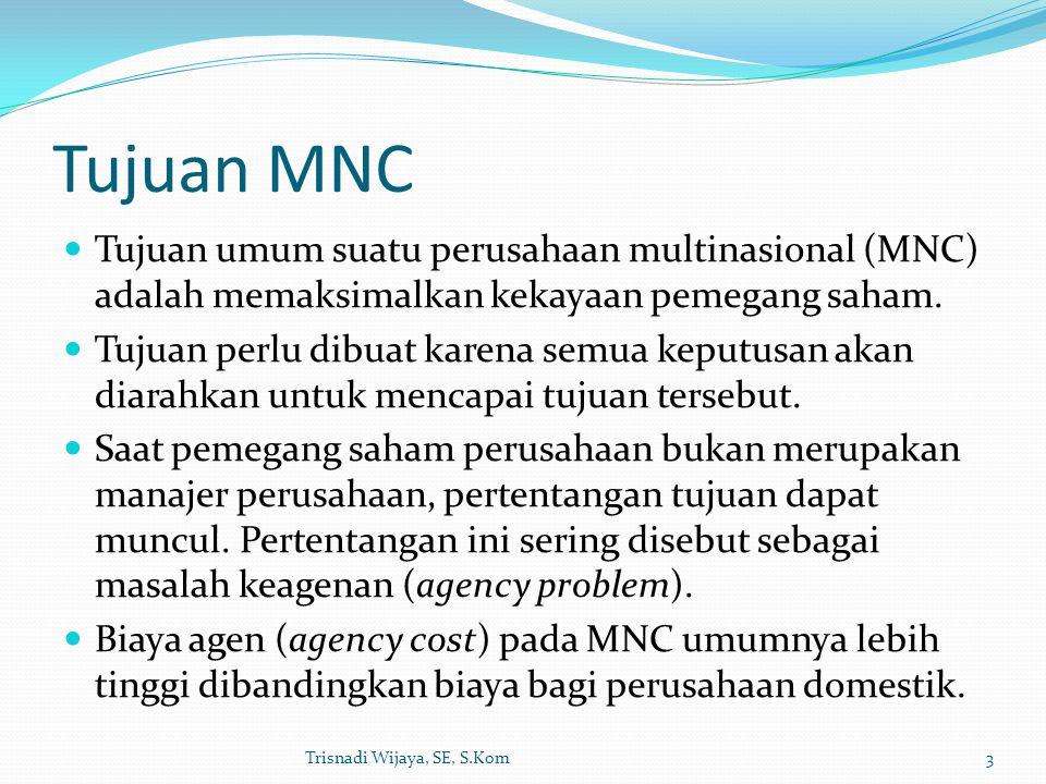 Tujuan MNC Tujuan umum suatu perusahaan multinasional (MNC) adalah memaksimalkan kekayaan pemegang saham. Tujuan perlu dibuat karena semua keputusan a