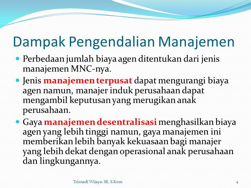 Dampak Pengendalian Manajemen Perbedaan jumlah biaya agen ditentukan dari jenis manajemen MNC-nya. Jenis manajemen terpusat dapat mengurangi biaya age