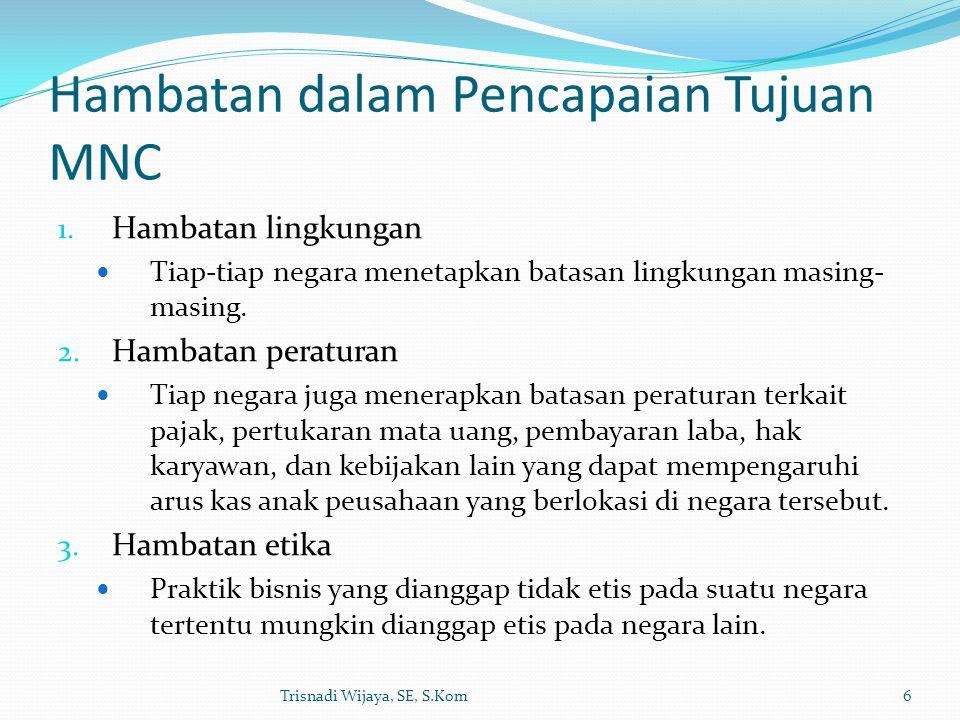 Hambatan dalam Pencapaian Tujuan MNC 1. Hambatan lingkungan Tiap-tiap negara menetapkan batasan lingkungan masing- masing. 2. Hambatan peraturan Tiap