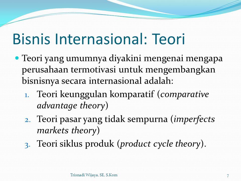 Bisnis Internasional: Teori Teori yang umumnya diyakini mengenai mengapa perusahaan termotivasi untuk mengembangkan bisnisnya secara internasional ada