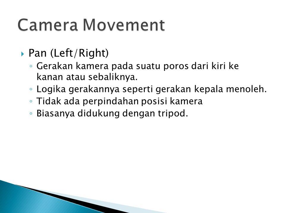  Pan (Left/Right) ◦ Gerakan kamera pada suatu poros dari kiri ke kanan atau sebaliknya. ◦ Logika gerakannya seperti gerakan kepala menoleh. ◦ Tidak a