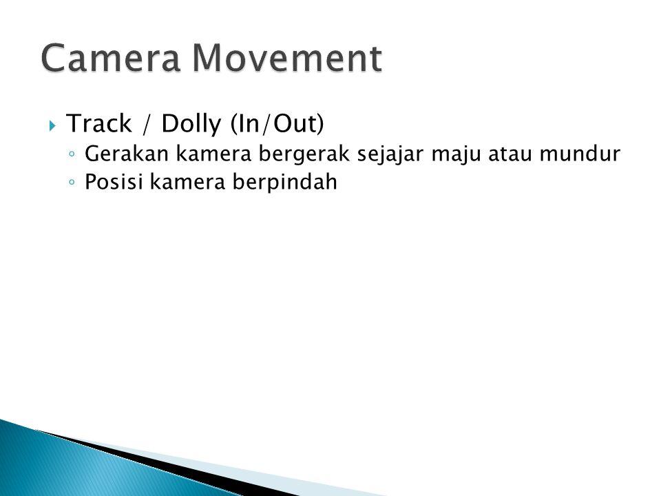  Track / Dolly (In/Out) ◦ Gerakan kamera bergerak sejajar maju atau mundur ◦ Posisi kamera berpindah