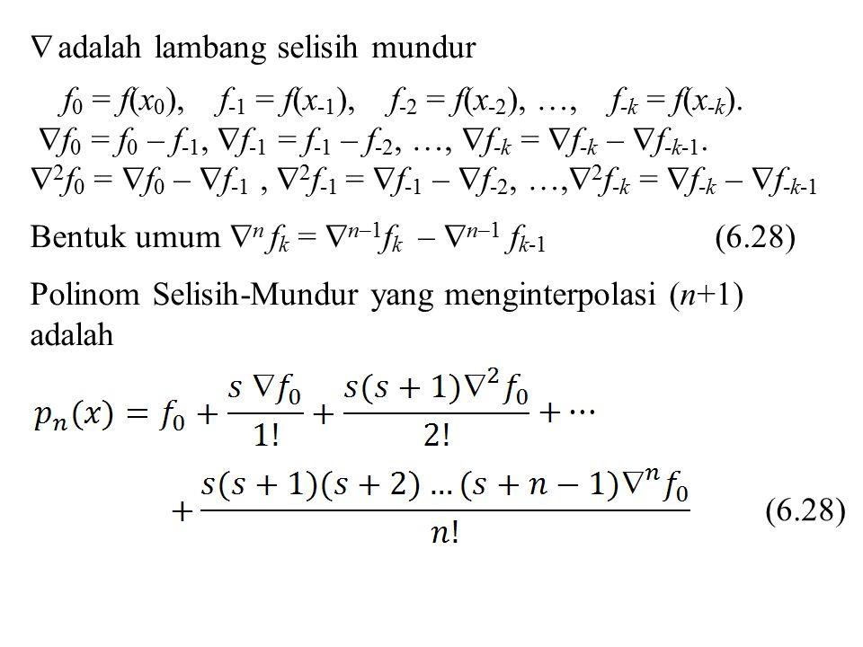  adalah lambang selisih mundur f 0 = f(x 0 ), f -1 = f(x -1 ), f -2 = f(x -2 ), …, f -k = f(x -k ).  f 0 = f 0 – f -1,  f -1 = f -1 – f -2, …,  f