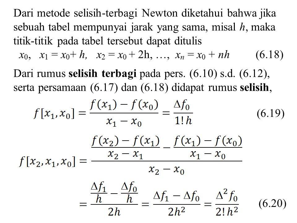 ixf(x)f(x) ff 2f2f 3f3f 01230123 1,70 1,80 1,90 2,00 0,39798 0,33998 0,28182 0,22389 –0,05800 –0,05816 –0,05793 –0,00016 0,00023 0,00039 a) Selisih maju derajat 3 s = (x – x 0 )/h = (1,83 – 1,70)/0,10 = 1,30