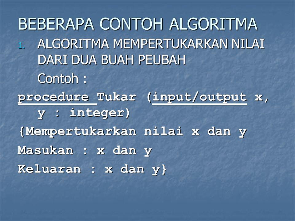 BEBERAPA CONTOH ALGORITMA 1. ALGORITMA MEMPERTUKARKAN NILAI DARI DUA BUAH PEUBAH Contoh : procedure Tukar (input/output x, y : integer) {Mempertukarka