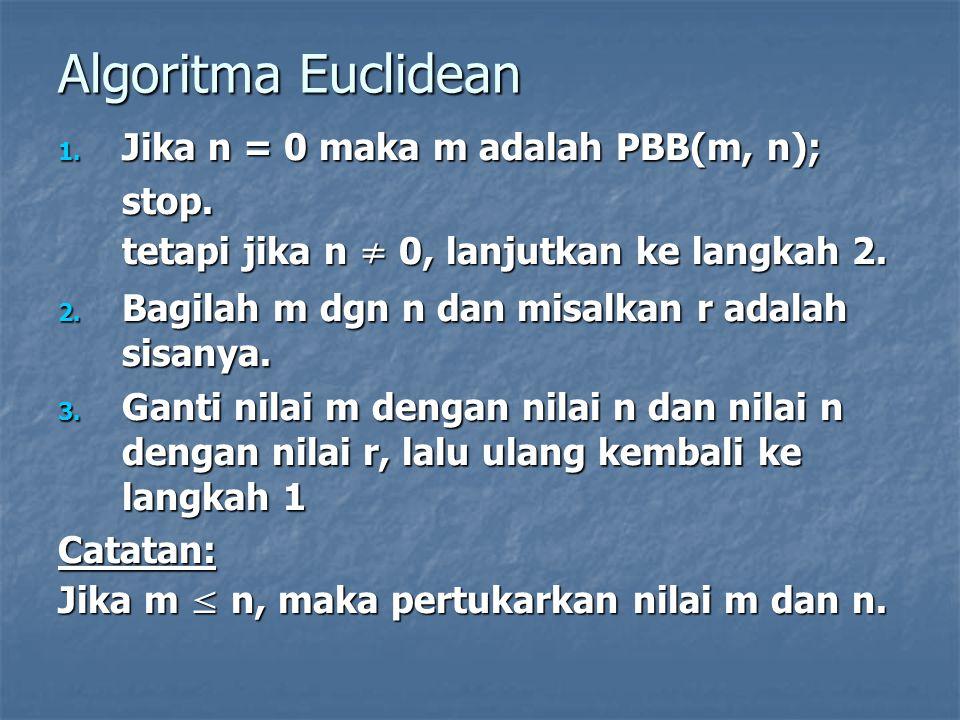 Algoritma Euclidean 1. Jika n = 0 maka m adalah PBB(m, n); stop. tetapi jika n ≠ 0, lanjutkan ke langkah 2. 2. Bagilah m dgn n dan misalkan r adalah s