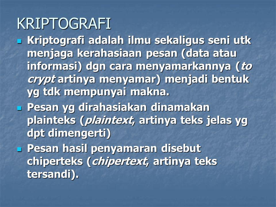 KRIPTOGRAFI Kriptografi adalah ilmu sekaligus seni utk menjaga kerahasiaan pesan (data atau informasi) dgn cara menyamarkannya (to crypt artinya menyamar) menjadi bentuk yg tdk mempunyai makna.