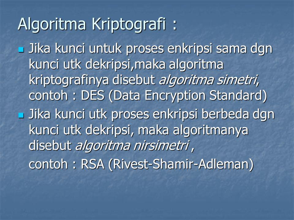 Algoritma Kriptografi : Jika kunci untuk proses enkripsi sama dgn kunci utk dekripsi,maka algoritma kriptografinya disebut algoritma simetri, contoh : DES (Data Encryption Standard) Jika kunci untuk proses enkripsi sama dgn kunci utk dekripsi,maka algoritma kriptografinya disebut algoritma simetri, contoh : DES (Data Encryption Standard) Jika kunci utk proses enkripsi berbeda dgn kunci utk dekripsi, maka algoritmanya disebut algoritma nirsimetri, Jika kunci utk proses enkripsi berbeda dgn kunci utk dekripsi, maka algoritmanya disebut algoritma nirsimetri, contoh : RSA (Rivest-Shamir-Adleman)