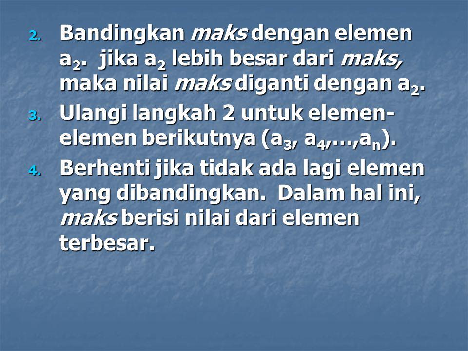 2.Bandingkan maks dengan elemen a 2.