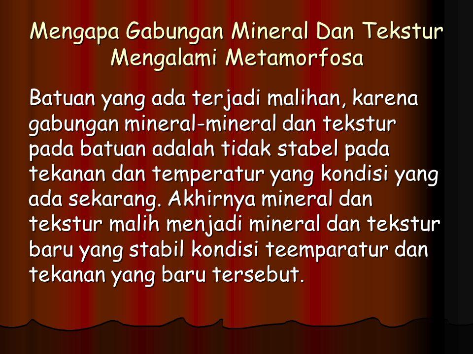 Mengapa Gabungan Mineral Dan Tekstur Mengalami Metamorfosa Batuan yang ada terjadi malihan, karena gabungan mineral-mineral dan tekstur pada batuan adalah tidak stabel pada tekanan dan temperatur yang kondisi yang ada sekarang.