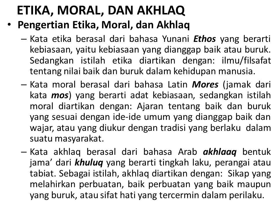 ETIKA, MORAL, DAN AKHLAQ Pengertian Etika, Moral, dan Akhlaq – Kata etika berasal dari bahasa Yunani Ethos yang berarti kebiasaan, yaitu kebiasaan yan
