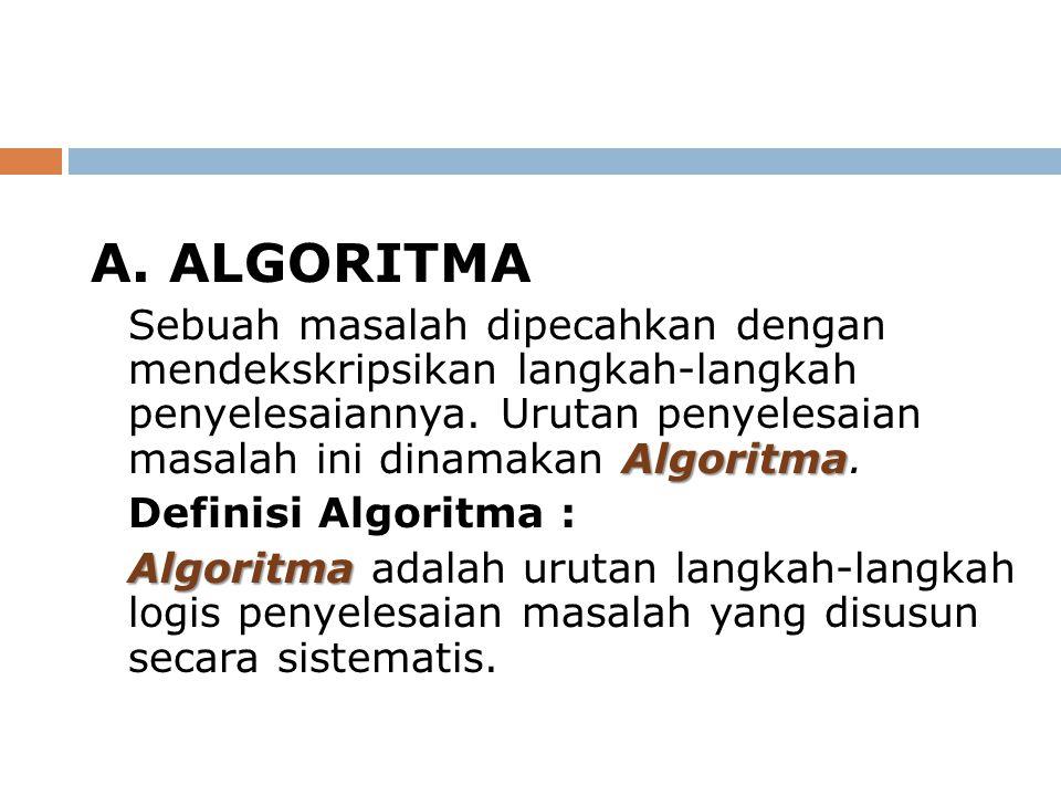 A. ALGORITMA Algoritma Sebuah masalah dipecahkan dengan mendekskripsikan langkah-langkah penyelesaiannya. Urutan penyelesaian masalah ini dinamakan Al