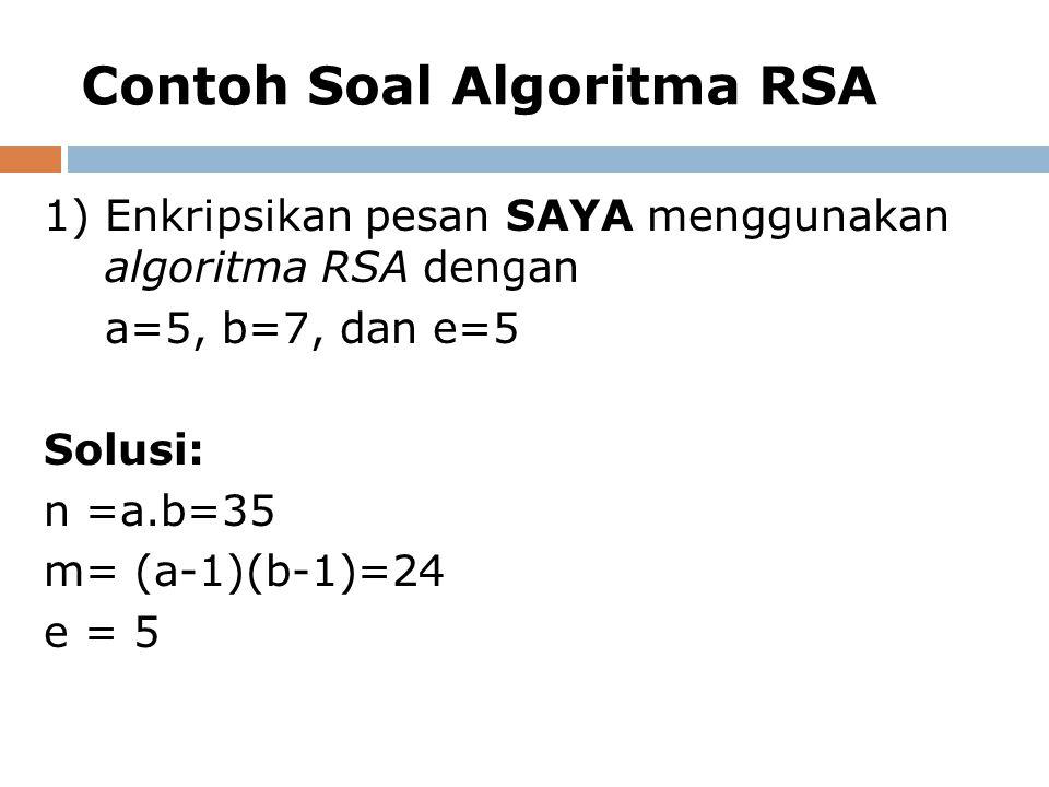 Contoh Soal Algoritma RSA 1)Enkripsikan pesan SAYA menggunakan algoritma RSA dengan a=5, b=7, dan e=5 Solusi: n =a.b=35 m= (a-1)(b-1)=24 e = 5