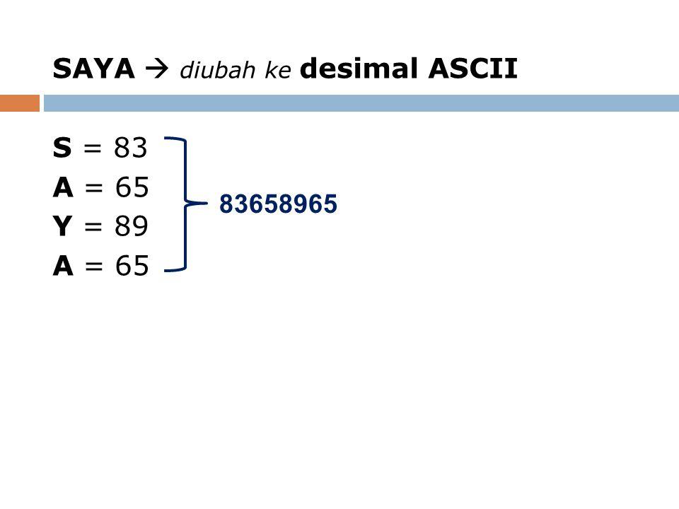 SAYA  diubah ke desimal ASCII S = 83 A = 65 Y = 89 A = 65 83658965