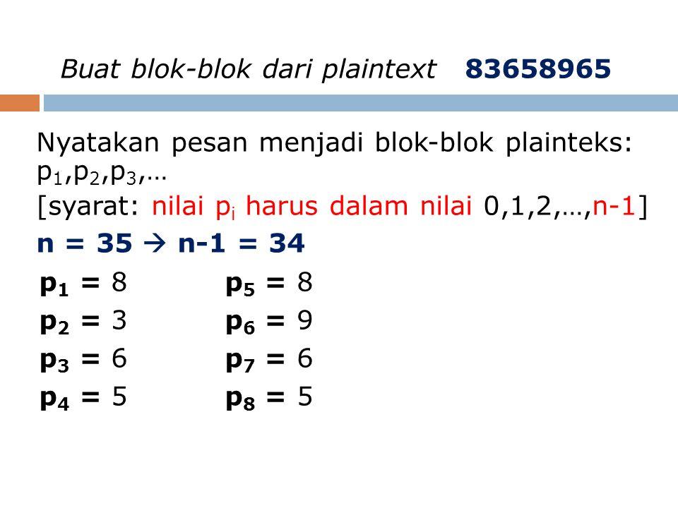 Buat blok-blok dari plaintext 83658965 Nyatakan pesan menjadi blok-blok plainteks: p 1,p 2,p 3,… [syarat: nilai p i harus dalam nilai 0,1,2,…,n-1] n =
