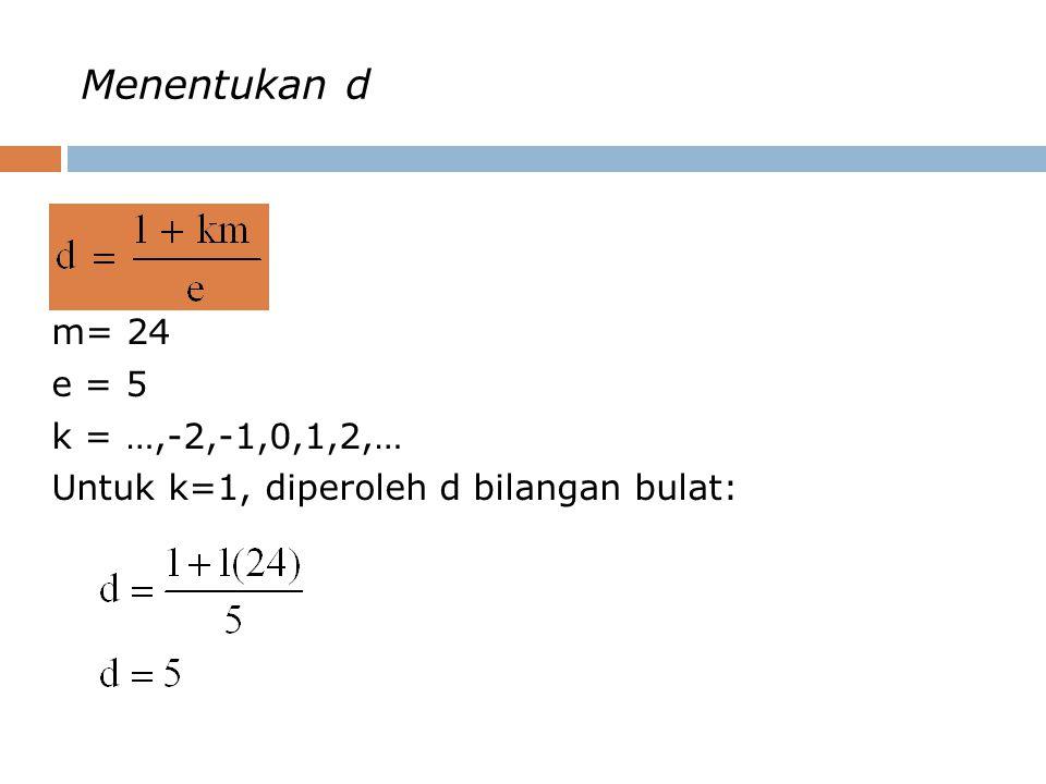 Menentukan d m= 24 e = 5 k = …,-2,-1,0,1,2,… Untuk k=1, diperoleh d bilangan bulat: