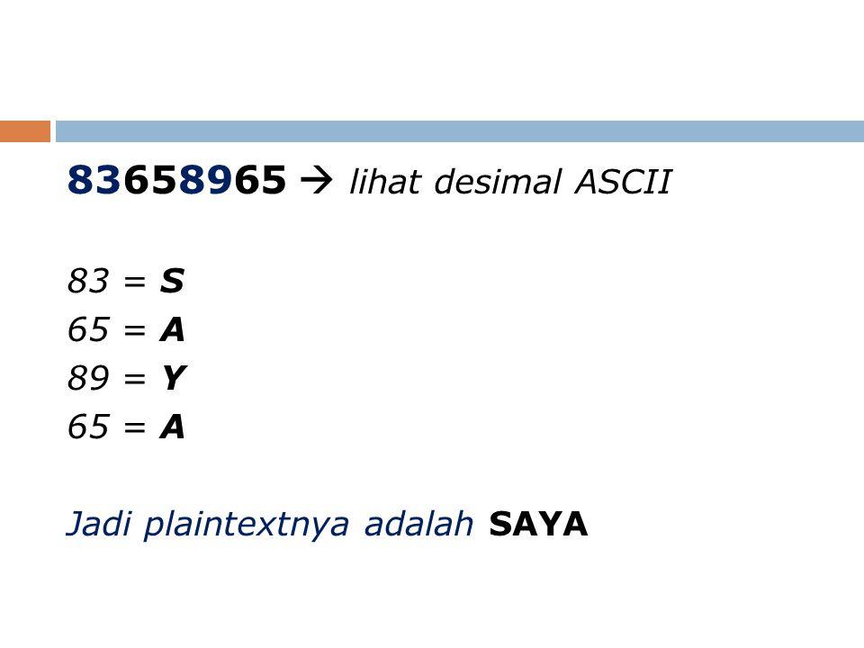83658965  lihat desimal ASCII 83 = S 65 = A 89 = Y 65 = A Jadi plaintextnya adalah SAYA