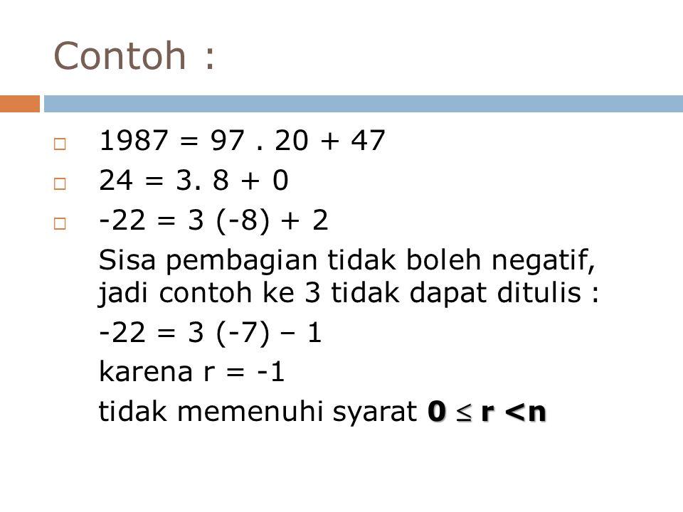 Contoh :  1987 = 97. 20 + 47  24 = 3. 8 + 0  -22 = 3 (-8) + 2 Sisa pembagian tidak boleh negatif, jadi contoh ke 3 tidak dapat ditulis : -22 = 3 (-