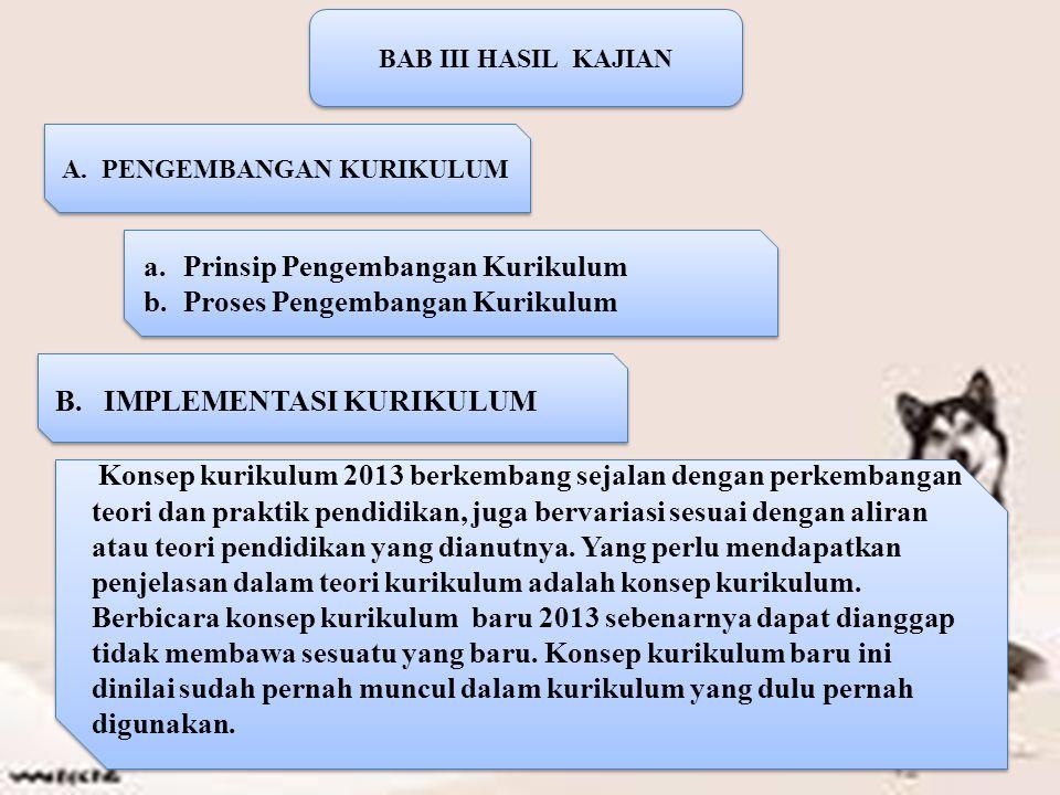 BAB III HASIL KAJIAN A.PENGEMBANGAN KURIKULUM a.Prinsip Pengembangan Kurikulum b.Proses Pengembangan Kurikulum a.Prinsip Pengembangan Kurikulum b.Proses Pengembangan Kurikulum B.