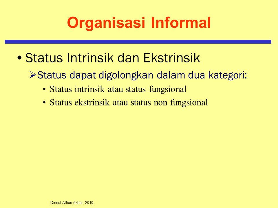 Dinnul Alfian Akbar, 2010 Organisasi Informal Status Intrinsik dan Ekstrinsik  Status dapat digolongkan dalam dua kategori: Status intrinsik atau sta