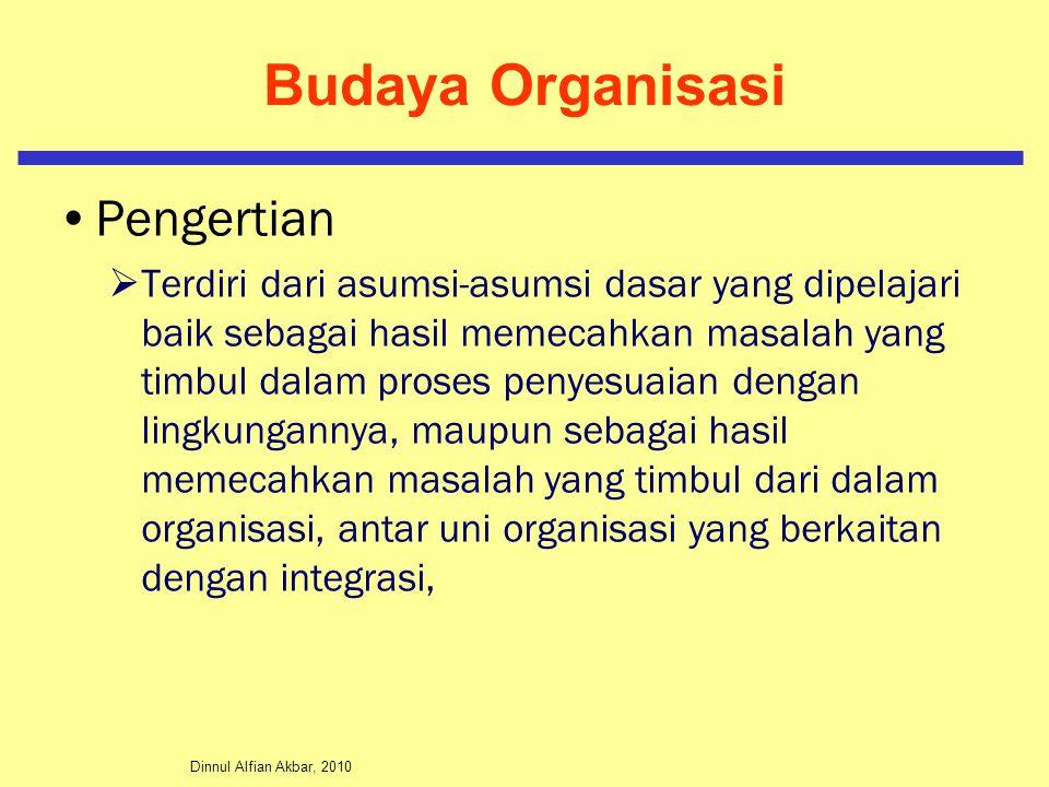 Dinnul Alfian Akbar, 2010 Budaya Organisasi Pengertian  Terdiri dari asumsi-asumsi dasar yang dipelajari baik sebagai hasil memecahkan masalah yang t