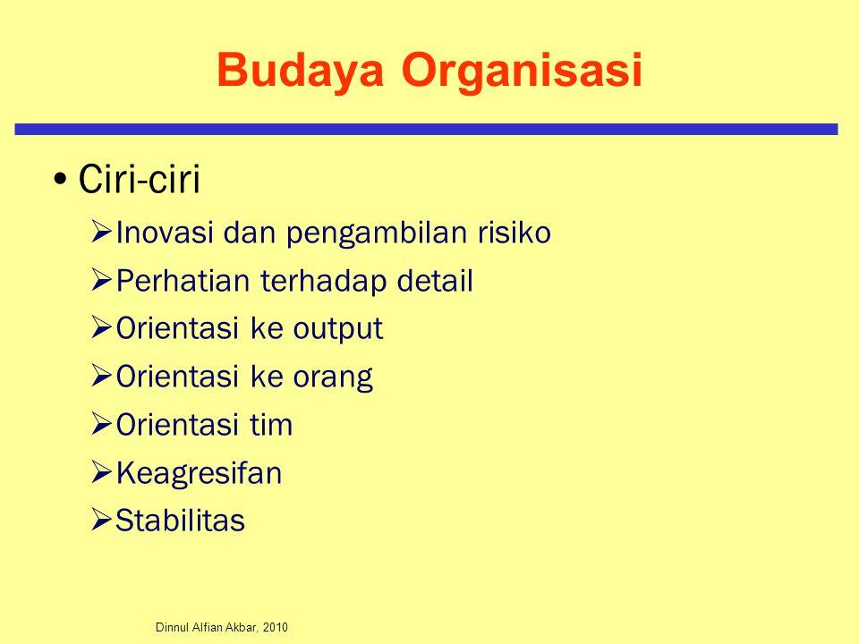 Dinnul Alfian Akbar, 2010 Budaya Organisasi Ciri-ciri  Inovasi dan pengambilan risiko  Perhatian terhadap detail  Orientasi ke output  Orientasi k